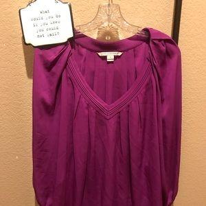 Diane Von Furstenberg V-Neck Silk Blouse 10